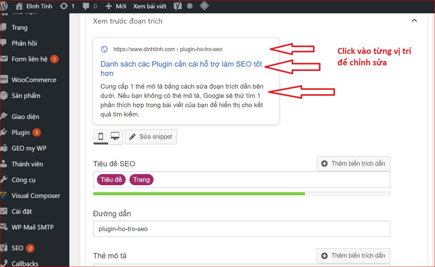Chỉnh các thẻ title, description, URL, Canonical