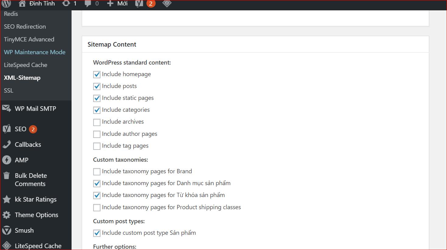 Tùy chỉnh Sitemap