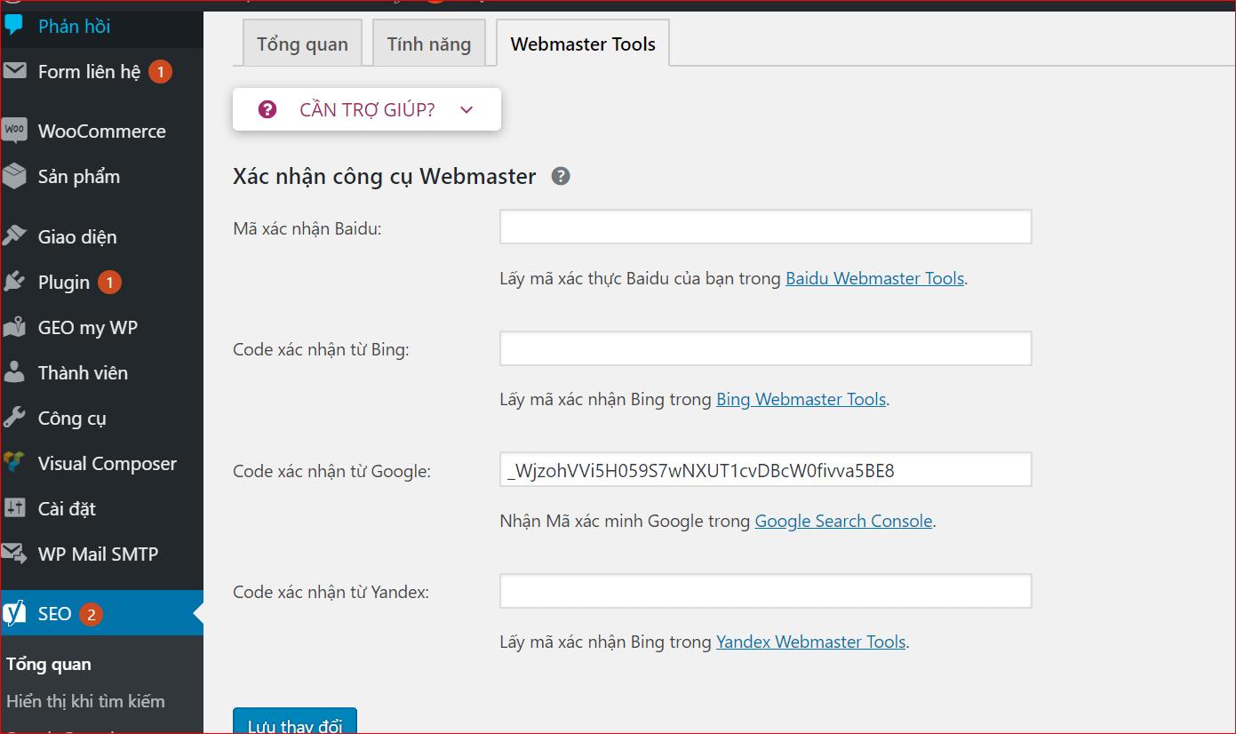 Xác nhận Webmaster bằng Yoast SEO